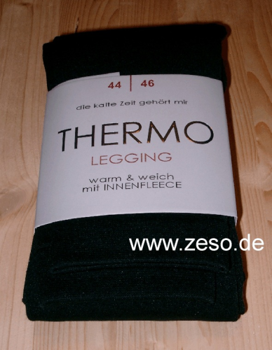 Damen Thermo Legging 48-50 schwarz