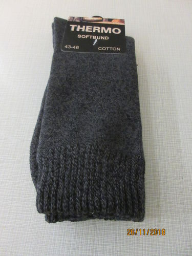 Thermo-Socken 85% Baumwolle 43-46 anthrazit-meliert